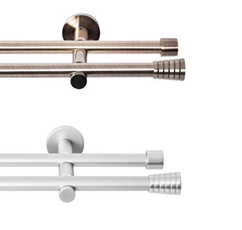 Rollmayer metall Gardinenstange Ø 16mm Rohr, Silber für Ösenvorhang Gardinen Vorhang (Adagio 200cm lang, silber, 2-läufig) Wandbefestigung Ohne Ringe!