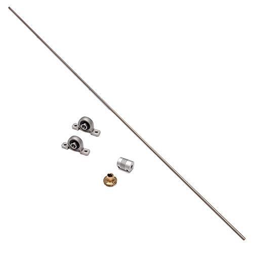 RFElettronica, Varilla roscada, riel de transmisión de tornillo de acero T8 con acoplamiento de eje y piezas de soporte de montaje para CNC, impresora 3D, 1000 mm