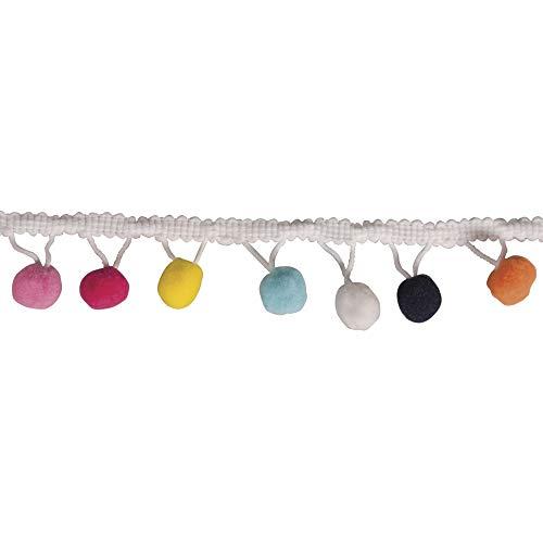 Rayher 55853999 Bordatura con Pompon rotondi colori diversi, dimensione 3cm, lunghezza 2m, passamaneria, per personalizzare vestiti, costumi, borse e per lavori creativi vari