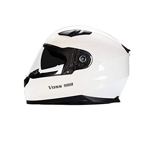 Voss 988 Moto-1 Street Full Face Helmet with Drop Down Internal Sun Lens - S - Solid Matte Black