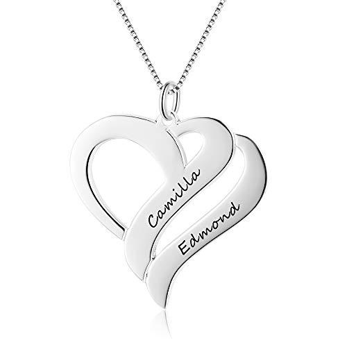 GaoSh Collana da donna personalizzata incisa con 2 nome in argento sterling 925 catena BFF a forma di cuore pendente amicizia collane per anniversario San Valentino compleanno