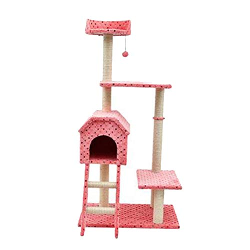 Yiqing Katze Baum Katze greifen Spalte Sisal Massivholz Katze springen Plattform,Pink