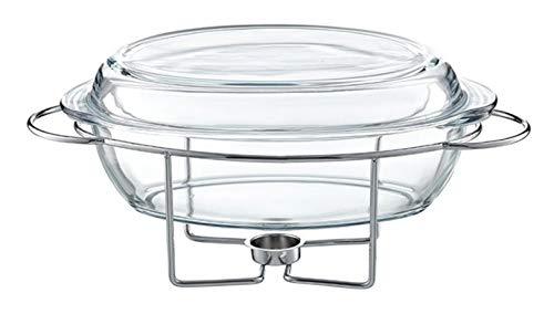 AMBITION Speisewärmer aus Glas mit Vorwärmer Hitzebeständiges Gefäß Saule 4,5 L