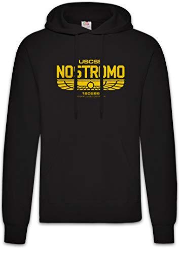 Urban Backwoods USCSS Nostromo IV Hoodie Sudadera con Capucha Sweatshirt Negro Talla M