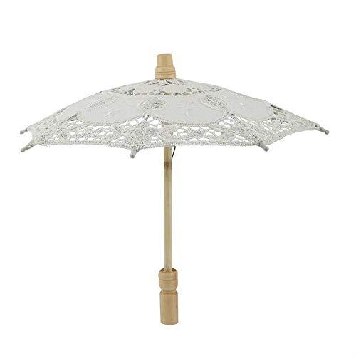 Sombrilla de Encaje Lady Wedding Parasol Sombrilla Encaje Algodón Bordado Handmake Parasol para Dama de Honor Nupcial Boda al Aire Libre Decoración de la Fiesta Fotos Accesorios(Beige)