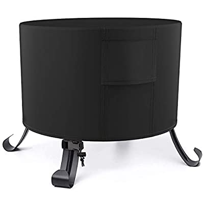 Deyard Round Fire Pit Cover, 32 x 20 Inch, Waterproof Weatherproof UV Protection Heavy Duty Protective Outdoor Gas Fire Pit Table Cover (Black)
