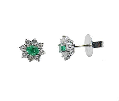 Pendientes Oro Blanco con Diamantes y Esmeraldas