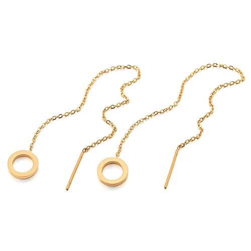 2 Color Oro Acero Inoxidable Pendientes con Extra Largo Cadena Colgantes Abierto Círculo, Mujer Niñas