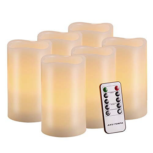 Flameless Candles Battery Operated Pillar Real Wax Flickering Electric LED Candle Gift Sets with Remote Control Cycling 24 Hours Timer by Aku Tonpa, 3'x5' Pack of 6