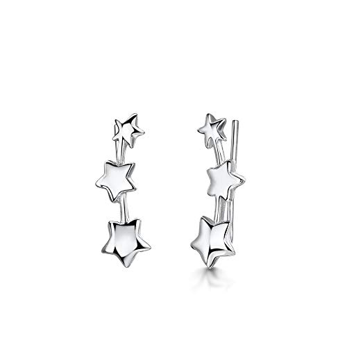 AmbertaWomen's925 Sterling Silver Crawler Earrings: Climbers with Triple Stars