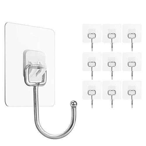 Large Adhesive Wall Hooks 33LB(Max), SUNDOKI Self Adhesive Hooks Removable Nail-Free Transparent Waterproof Hooks for Hanging Bathroom Kitchen & Home Utilities(10 Pack)
