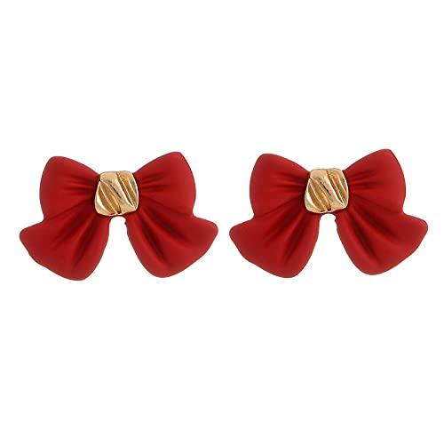 Pendientes Para Mujer - Pendientes De Botón De Bowknot Rojo Negro Encantadores Accesorios De Botón De Oreja Pequeños Contratados Con Colgante De Gota Joyería De Moda Para Mujeres, Damas, Niñas,