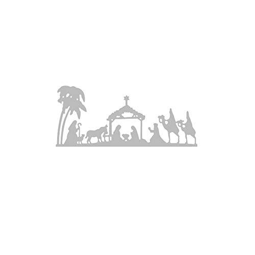 Livecitys Langlebige Papierprägewerkzeug, Krippenmotiv, Metall-Stanzformen, DIY Sammelalbum, Prägung, Papierkarten, Album, Bastelschablone, Silber