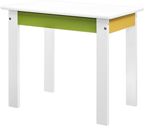 Bieco 79199203 - Kinder Tisch weiß/gelb/grün, ca. 40 x 55 x 47 cm