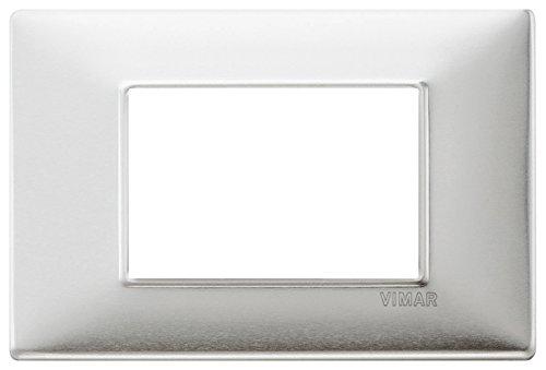 Vimar Placca 3 m, Alluminio Spazzolato