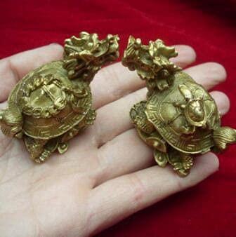 YANGYUE Nueva decoración de latón Decoración Muebles para el hogar Dragón Dragón Tortuga Un par de Trompeta