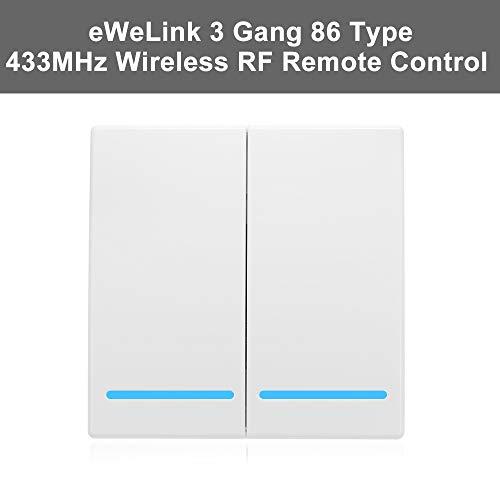 eWeLink 433MHz Botón Pulsador de Pared, Interruptor de Control Remoto,Tipo 86, 2 Gang, Interruptor de Encendido/Apagado, Transmisor de Control Remoto Inalámbrico RF, con Pegatina Posición Flexible