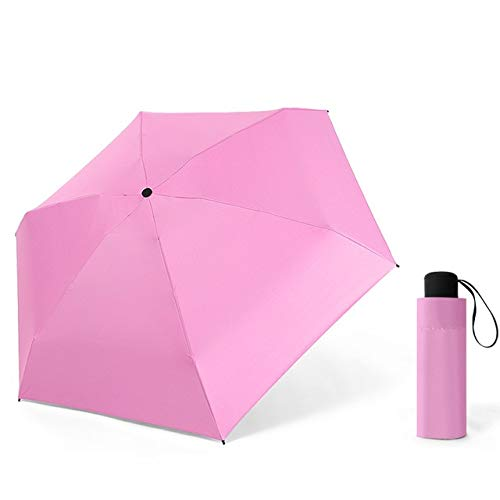 Mini Paraguas Plegable Ligero Lluvia Mujer Cápsula Portátil 5 Paraguas Plegable para Mujer Sombrillas A Prueba de Viento Parasol - Rosa