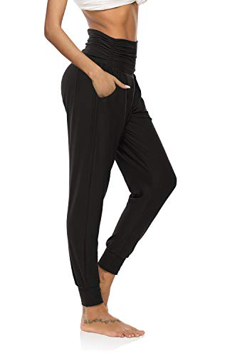 DIBAOLONG Womens Comfy Lounge Pants Loose Yoga Workout Running Active Joggers Sweatpants with Pockets Black