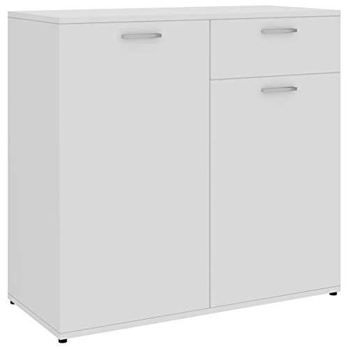 vidaXL Aparador Muebles de Cajones Almacenaje Buffet para Salón Comedor Dormitorio Casa Oficina Hogar de Aglomerado Blanco 80x36x75 cm