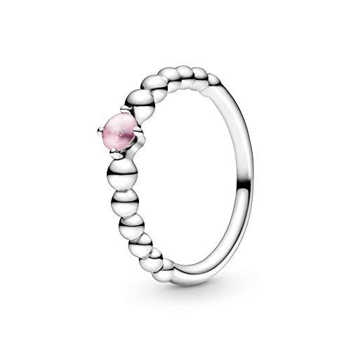 Pandora Anillo solitario para mujer, plata de ley 925, talla 58, color rosa