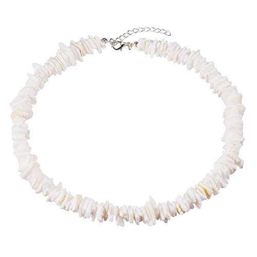 Kuoyue Shell Choker Necklace Puka Chip Choker Necklace White Conch Clam Chips Collar Choker Necklace with Extended Chain