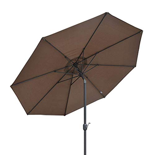 GBTB Sombrilla para Patio de Playa al Aire Libre de 9.8 pies / 3 m, sombrilla de jardín con sombrilla y 8 Costillas Resistentes, Impermeable y Resistente a la decoloración (Color: Gris-marrón, ta