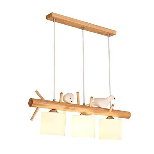 SuRose Globe Ornaments, Home Modern Wood Glass Chandelier, LED 2 Luces E27 Bird Design Lámpara Colgante para Comedor Cafetería Pasillo Lámpara Colgante-A 120 70cm