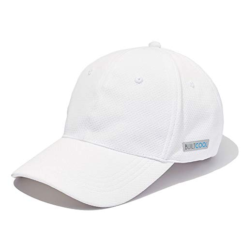BUILTCOOL Mesh Cooling Baseball Hat - Moisture Wicking Ball Cap for Hot Weather, Running, Tennis, and Golf White