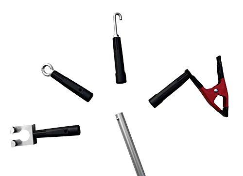 FenWi - Haken, Öse & Klammer als Zubehör zu Aluminium-Teleskopstangen und Teleskop-Fensterwischer-Set - zum Lichterkette & Weihnachtsbeleuchtung aufhängen - Zughaken für Schalter & Verriegelungen