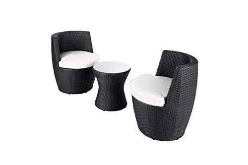 Au jardin de Chloé | Duo Salon de Jardin en résine tressée Noir KIA • 2 fauteuils 1 Table •