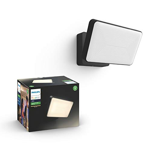 Philips Hue White LED Welcome Flutlicht für den Aussenbereich, dimmbar, warmweißes Licht, steuerbar via App, kompatibel mit Amazon Alexa (Echo, Echo Dot)