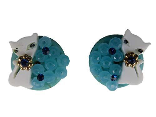 Ohrringe Ohrstecker Stecker Katze neben Blume mit Stein und blauem Straß 9398