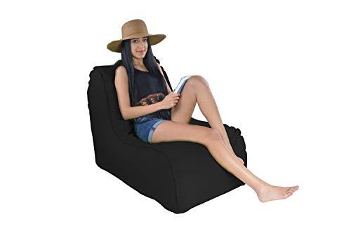 Easysitz Sitzsack Liege Outdoor mit Lehne 90x65x70 cm Sitzsäcke Indoor Relax Lounge Groß Liegesessel Liegekissen Liegematte für Kinder Erwachsene Innensack Wasserfest Waschbar (L - Schwarz)