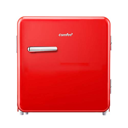 Comfee 1.6 Cubic Feet Solo Series Retro Refrigerator Sleek Appearance HIPS Interior, Energy Saving, Adjustable Legs, Temperature Thermostat Dial, Removable Shelf, Perfect for Home/Dorm/Garage [Red]