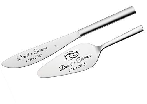 WMF Nuova Tortenheber + Messer im Set mit Gravur nach Wunsch Edelstahl Hochzeit, Geschenk (Mit Gravur)