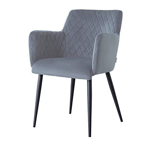 Damiware Rose Stuhl | Design Wohnzimmerstuhl Esszimmerstuhle Bürostuhl mit Stoffbezug | (Samt Hellblau)