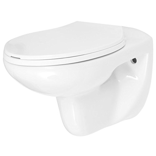 Festnight Inodoro WC de Pared de Cerámica con Cierre...