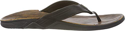 Reef Men's Leather Sandals J-Bay III | Comfortable Leather Flip Flops for Men | Noche | Size 11