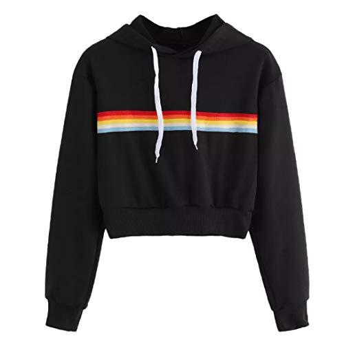 Homebaby Felpa Felpe Corte Tumblr Ragazza Donna Rainbow,Ragazza Sweatshirt Elegante Pullover Manica Lunga Crop Top Maglietta Cotone Camicette T-Shirt Yoga Fitness Calcio Sportiva Giacca