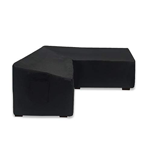 Linkool Upgrade Garden Furniture Corner Sofa Set Cover,L Shaped Right Side Short,260x210 (right side) x 81 Dx 78 H cm,Black,Outdoor Waterproof All Weather Protection