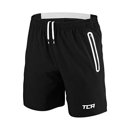 TCA Men's Elite Tech Running/Training/Gym Shorts - Black/White M