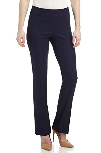 Rekucci Women's Ease in to Comfort Fit Barely Bootcut Stretch Pants (10,Navy)