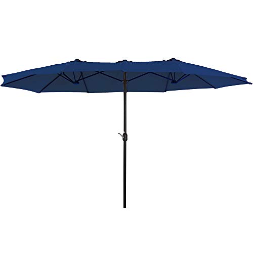 of extra large patio umbrellas SUPERJARE 14 Ft Outdoor Patio Umbrella with 1.89 Inches Pole Caliber, Extra Large Double-Sided Design with Crank, Polyester Fabric - Navy Blue