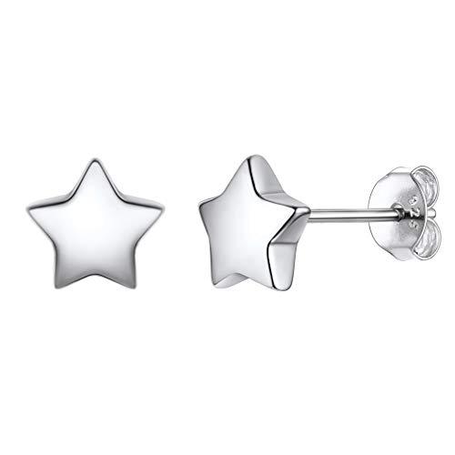 PROSILVER Pendientes Estrellas Plata Anti Alergia, Star Earrings Pendientes Piercing Botón para Mujeres