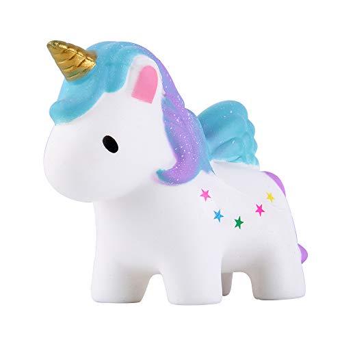 Anboor Squishies Einhorn Pferd Pegasus mit Flügel Langsam Steigend Squeeze Spielzeug Antistress Squishies Süße Tiere Slow Rising Spielzeug für Kinder Erwachsene (Stern, 13,5*5*11,5cm, 1 Stück)