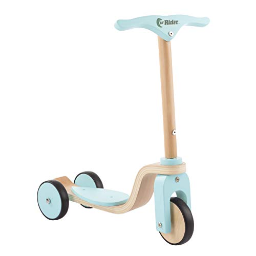 Lil' Rider Kids Wooden Scooter-Beginner Push Steering Handlebar, 3 Wheel, Kick Scooter-Fun Balance & Coordination Riding Toy for Girls & Boys, Brown/A (80-TK01530)