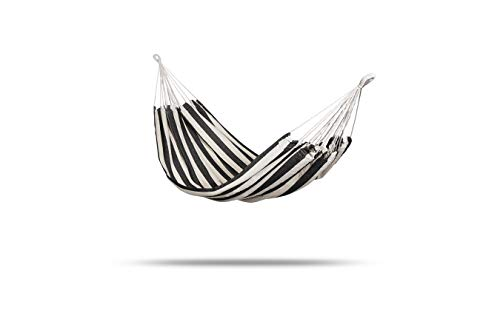909 OUTDOOR Travel Camping Stripes Hammock, Breathable Summer Sleeping Underquilt, Hiking Quilt, 2 Carabiners & Rope Included, 60% Cotton & 40% Polyester 200_x_100 cm, Black and White