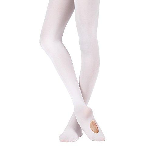 Bezioner Collants de Danse pour les Filles Femmes pour Ballet Yoga Gymnastique Convertible, 1 Paire Blanc, L(Au dessus de 140cm)