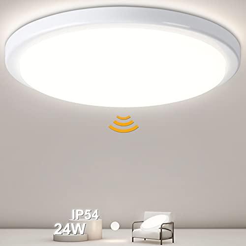 Oraymin 24W 2400LM Plafoniera a LED con sensore di movimento, IP54 impermeabile lampada da bagno, lampada con sensore per corridoio, scale, corridoio, balcone, cantina, garage, 4000 K, Ø 28,8 cm